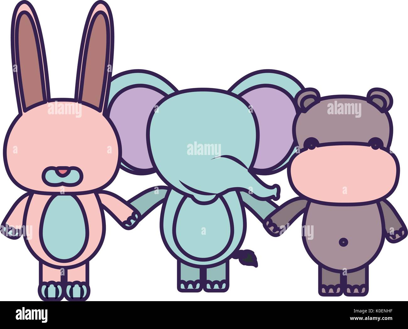 white background with light color faceless caricature rabbit elephant and hippopotamus animals holding hands Stock Vector