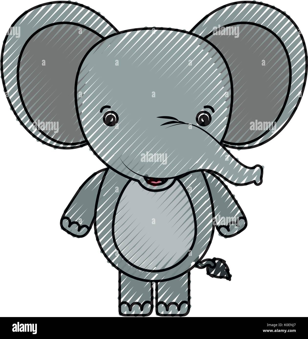 color crayon silhouette caricature cute elephant animal Stock Vector ...