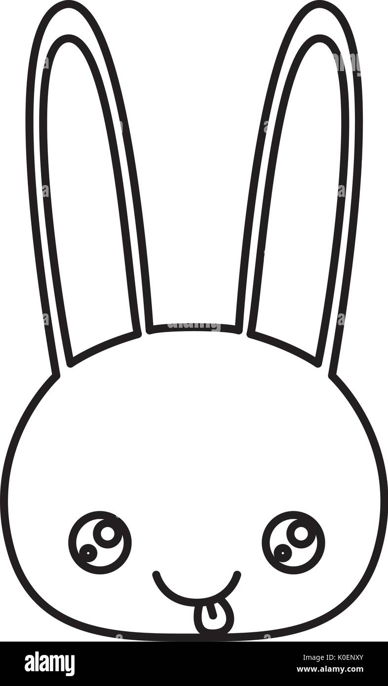 sketch silhouette of kawaii caricature face rabbit cute animal tongue out expression - Stock Image