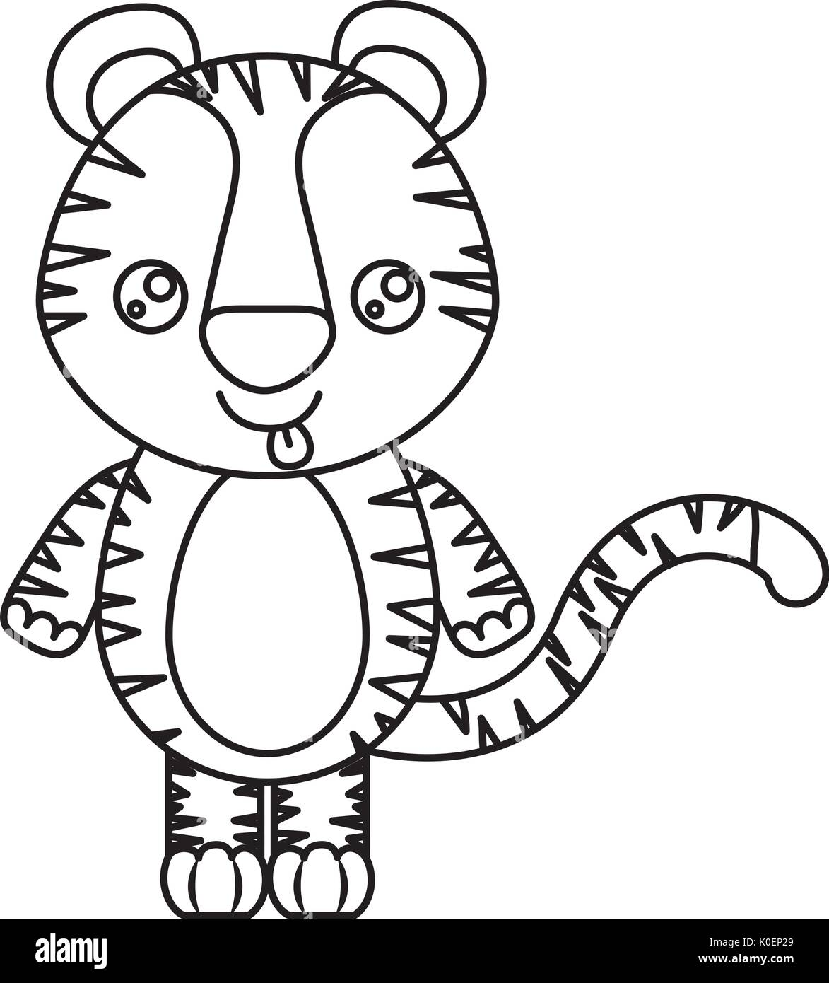 Png Sketch Silhouette Of Kawaii Caricature Cute Expression And Tongue Out Of Tiger Animal Archidev Sketch Silhouette Of Kawaii Caricature Cute Expression And Tongue