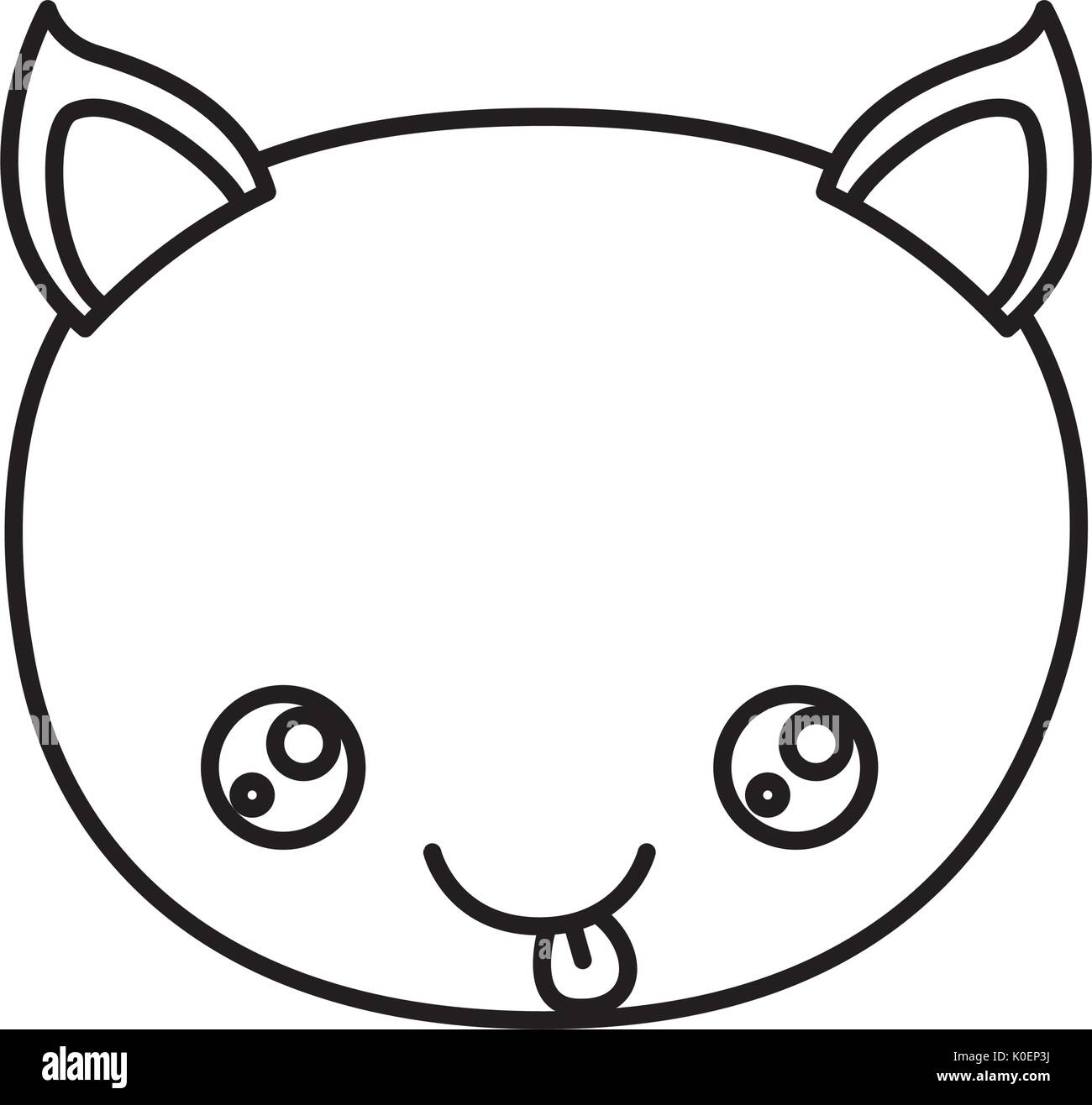 sketch silhouette of kawaii caricature face cat cute animal tongue out expression - Stock Image