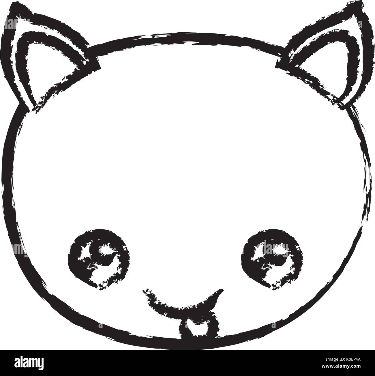 blurred tick contour of kawaii caricature face cat cute animal tongue out expression - Stock Image