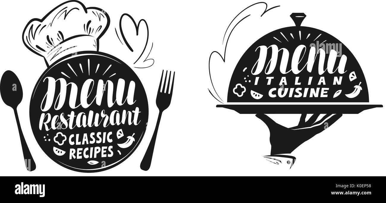 Catering, canteen concept. Illustration for design menu restaurant or cafe. Lettering, calligraphy vector illustration - Stock Image
