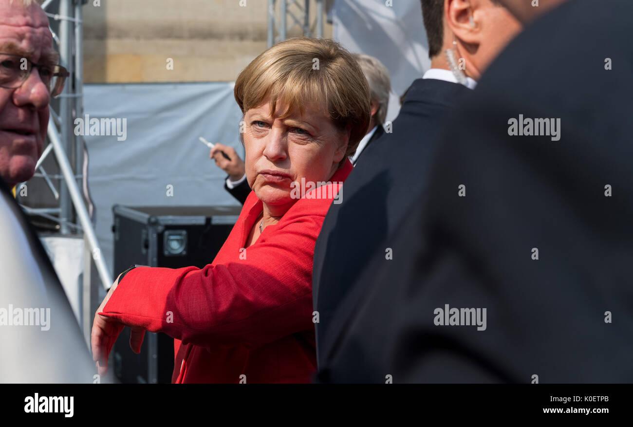 Muenster Germany 22nd Aug 2017 German Chancellor Angela Merkel