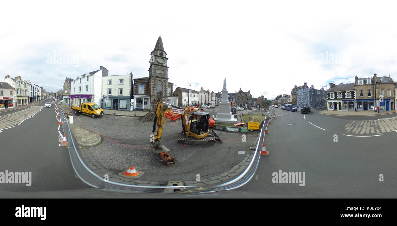 Market Place, Selkirk, UK. 22nd Aug, 2017. Selkirk Streetscape Regeneration (NOTE: Image was created as an Equirectangular Stock Photo