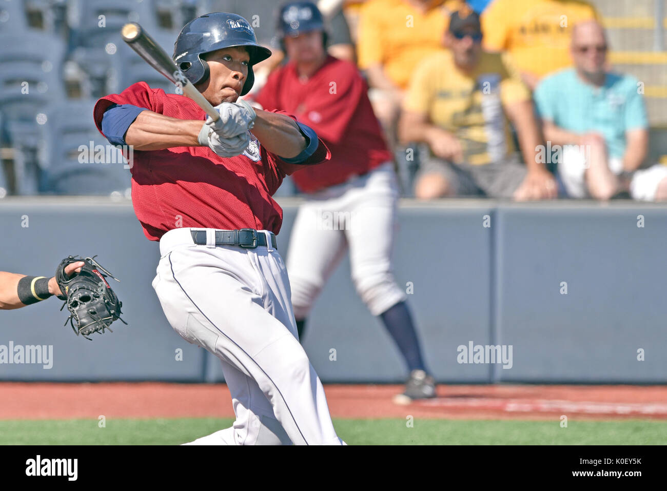 Morgantown, West Virginia, USA. 20th Aug, 2017. Mahoning Valley Scrappers right fielder WILL BENSON (7) during the August 20, 2017 New York-Penn league game at Monongalia County Ballpark in Morgantown, WV. Credit: Ken Inness/ZUMA Wire/Alamy Live News - Stock Image