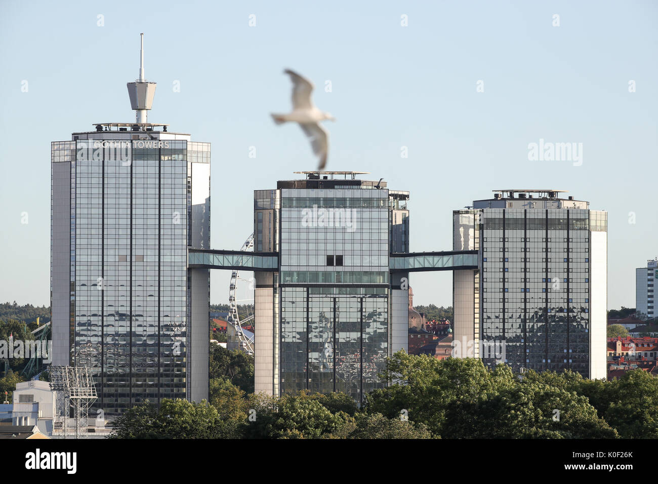 Picture of the Gothia towers taken in Goteborg, Sweden, 22 August 2017. Photo: Friso Gentsch/dpa Stock Photo