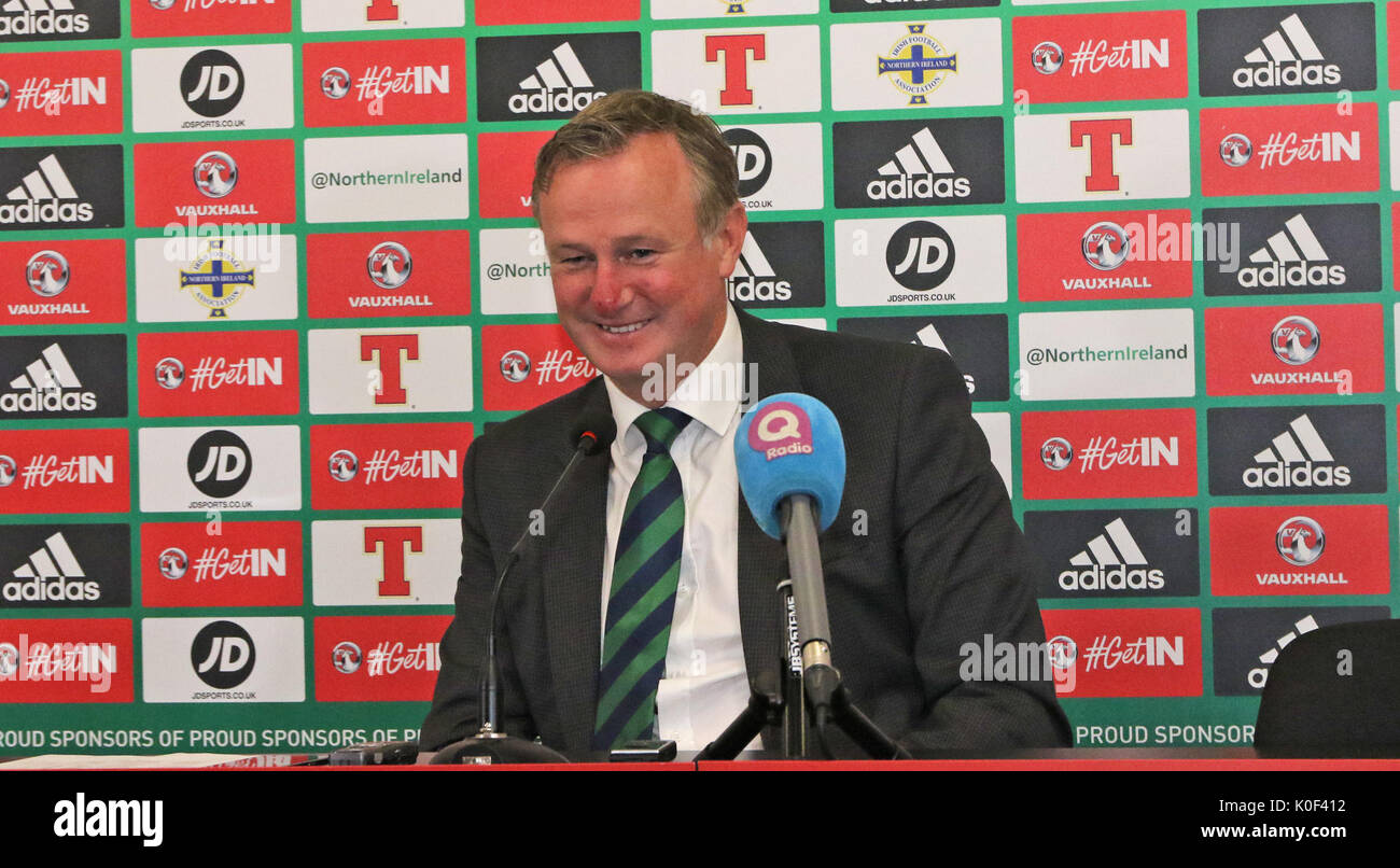 National Football Stadium at Windsor Park, Belfast, Northern Ireland. 23 August 2017. Northern  Ireland manager Michael O'Neill named his squad today for the forthcoming World Cup qualifying games against San Marino (01/09/17) and the Czech Republic (04/09/17). Credit : David Hunter/Alamy Live News. - Stock Image