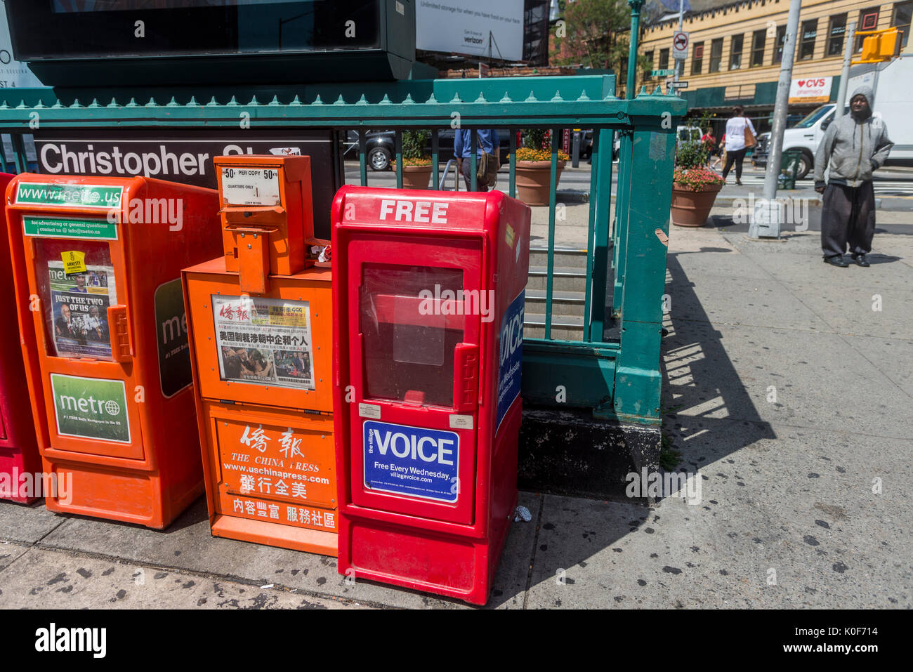 New York, NY, USA. 23rd Aug, 2017. An empty Village Voice newspaper box sadly waits in Sheridan Square to be refilled. On Tuesday, August 22, Peter D Barbey announced the 62 year old alternative weekly newspaper would cease publication of its print edition. An online edition will still be available via the internet CREDIT: Credit: Stacy Walsh Rosenstock/Alamy Live News - Stock Image