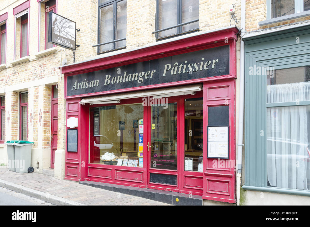 Artisan Boulanger Patissier in Saint Omer, Northern France - Stock Image