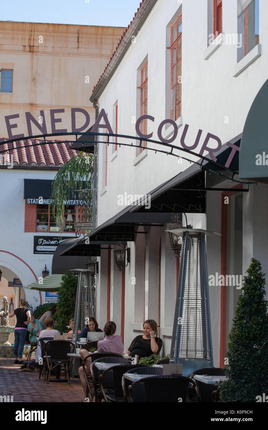 Shops And Restaurants Along Park Avenue Winter Park Florida Stock
