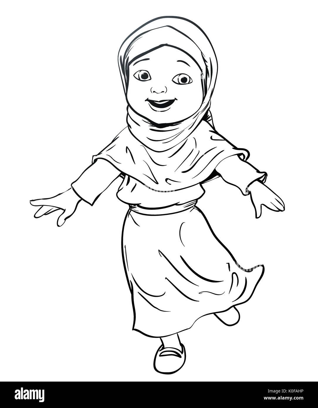 Hand drawing happy muslim girl make running pink dress and violet hijab flat cartoon style line vector illustration