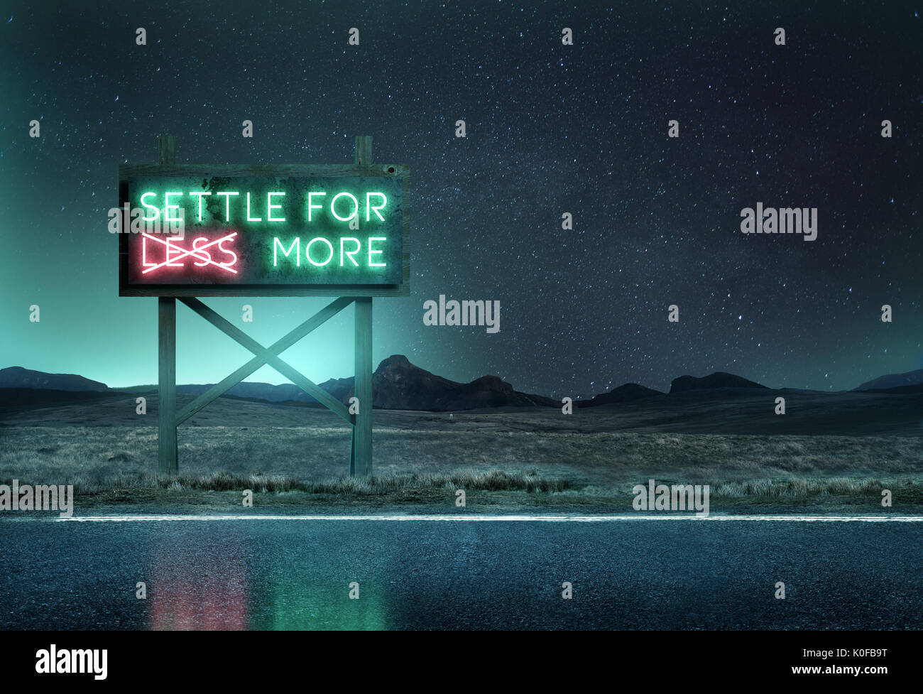 An old neon sign at night along a roadside with the message 'settle for more'. Mixed media illustration. - Stock Image