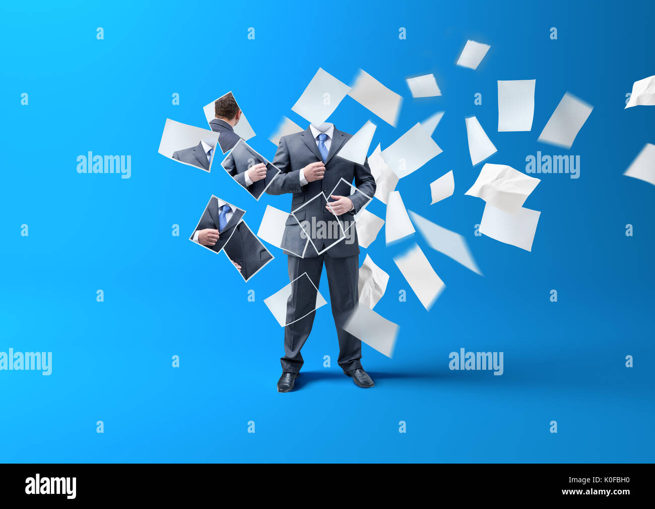Printing A businessman. A person being made/ lost in printed paper blowing in the wind. business concept. - Stock Image