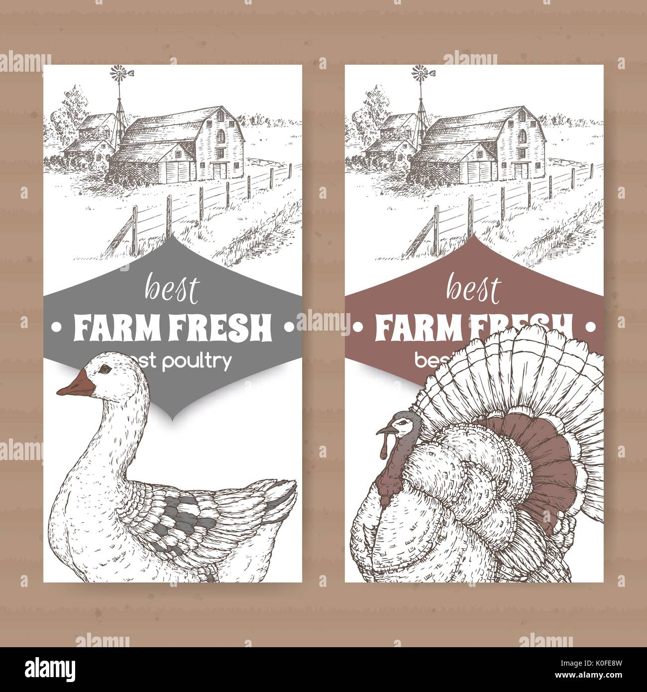 Two farm shop labels with farmhouse, barn, goose and turkey on white. - Stock Vector