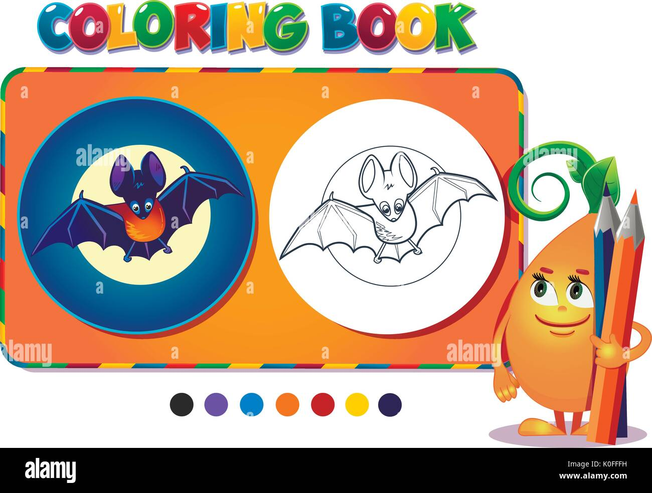 Coloring book boy with a bat  - vector illustration. - Stock Image