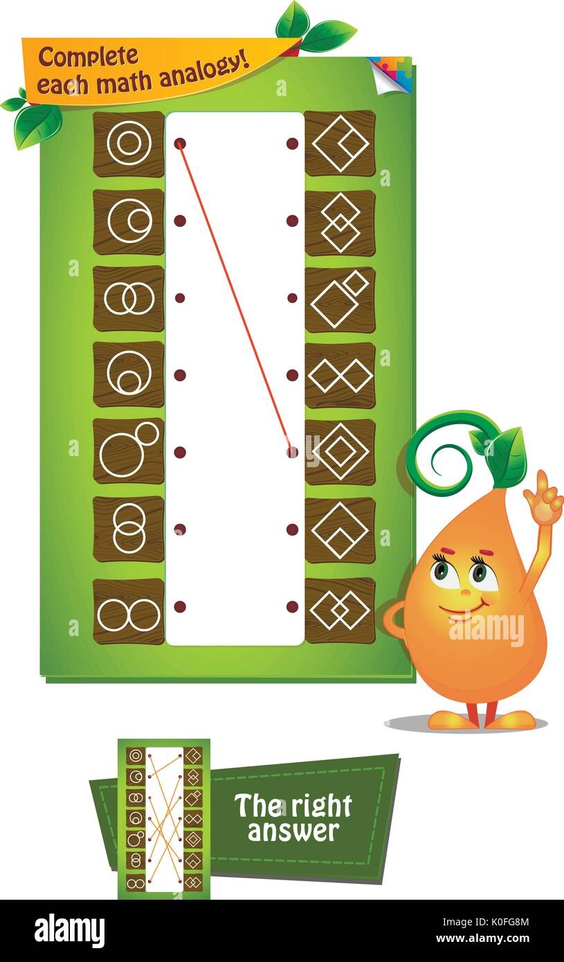 visual game for children and adults. Complete each math analogy - Stock Image