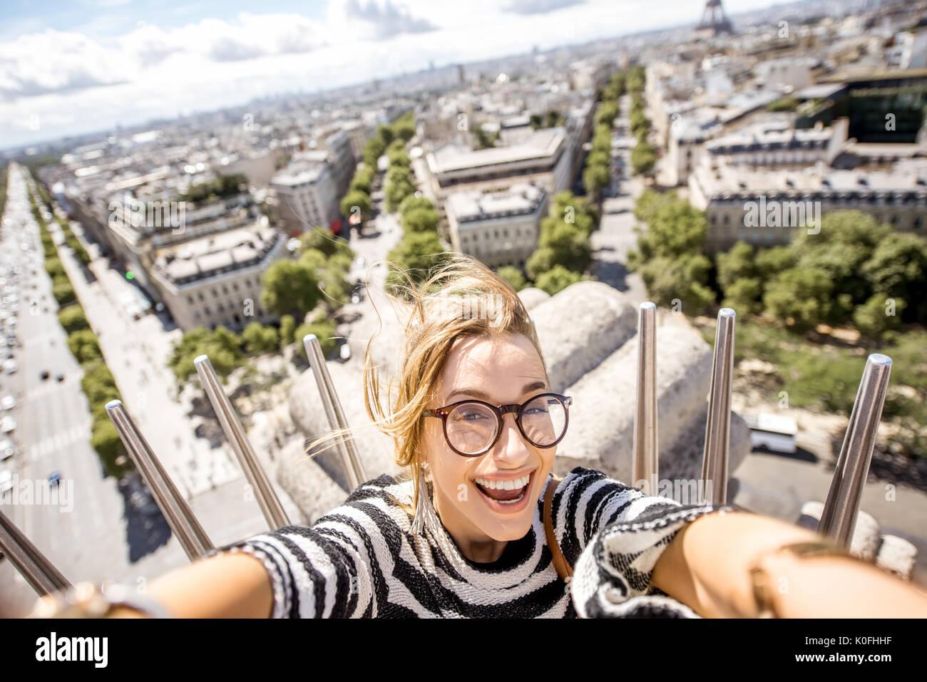 Woman enjoying great view on the Paris city - Stock Image