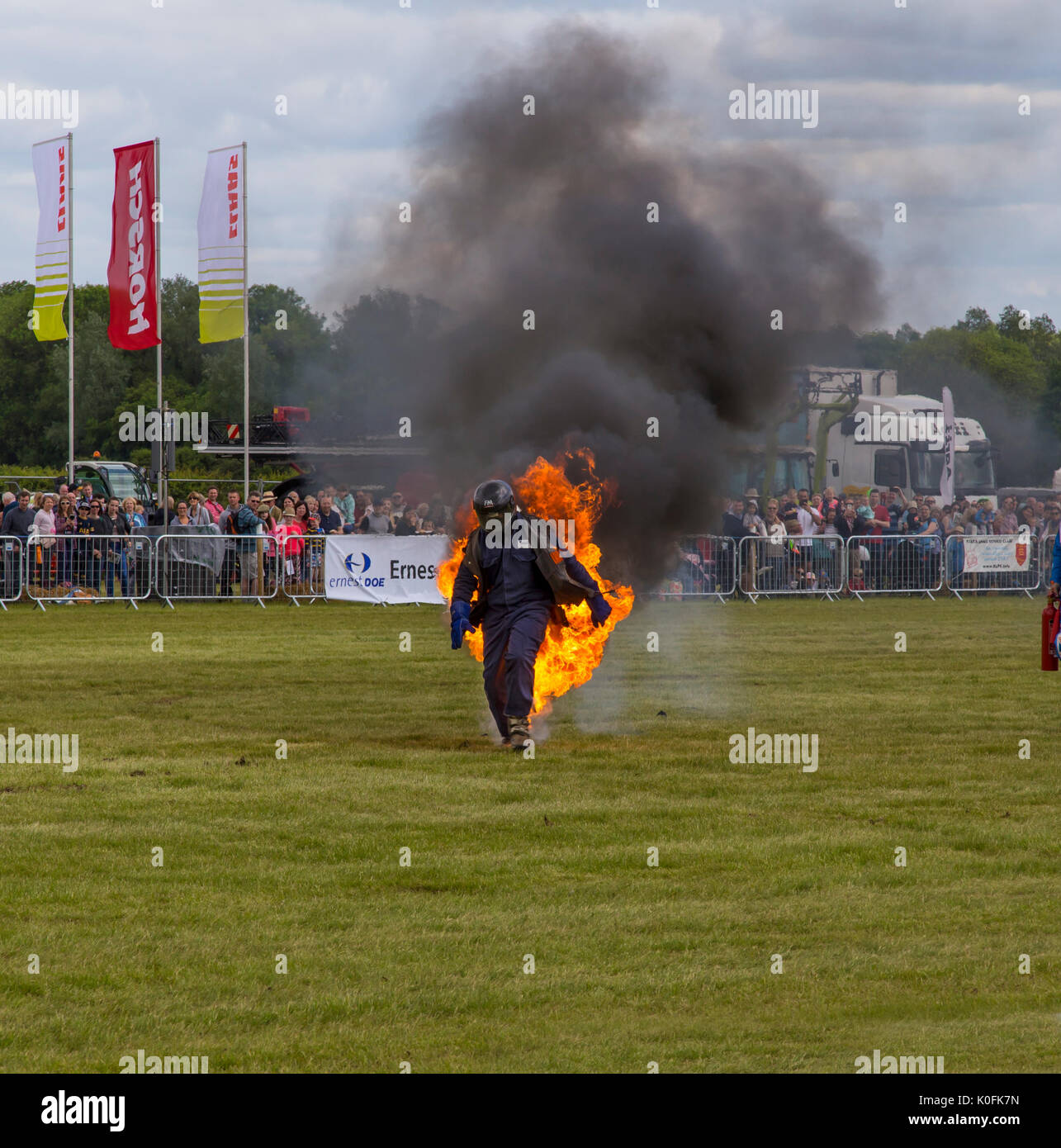 Stunt man on fire - Stock Image