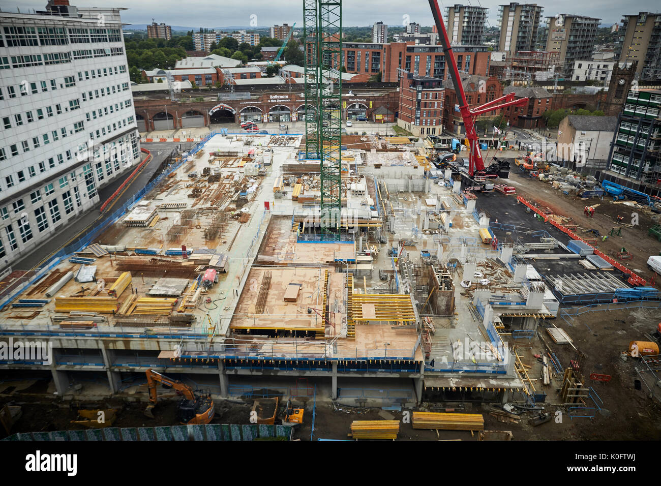 Groundwork foundations of a  new Chapel Wharf scheme by Dandara - developers will include a new Lowry Hotel car park, Manchester. - Stock Image