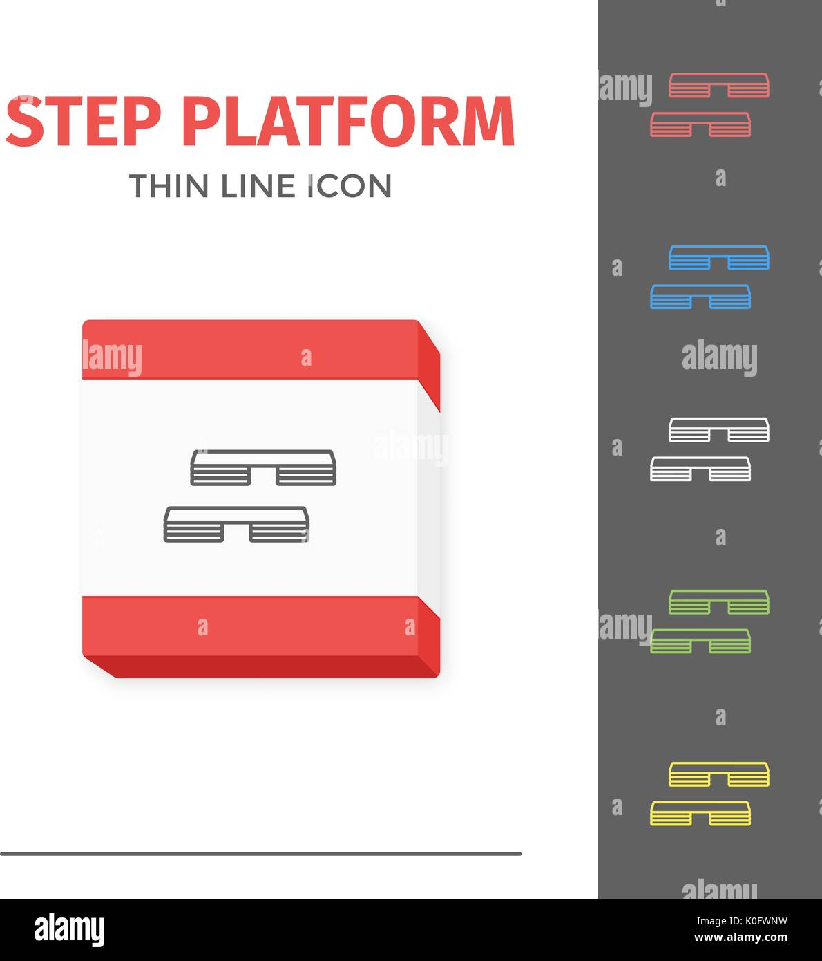 Simple line stroked step platform vector icon - Stock Vector