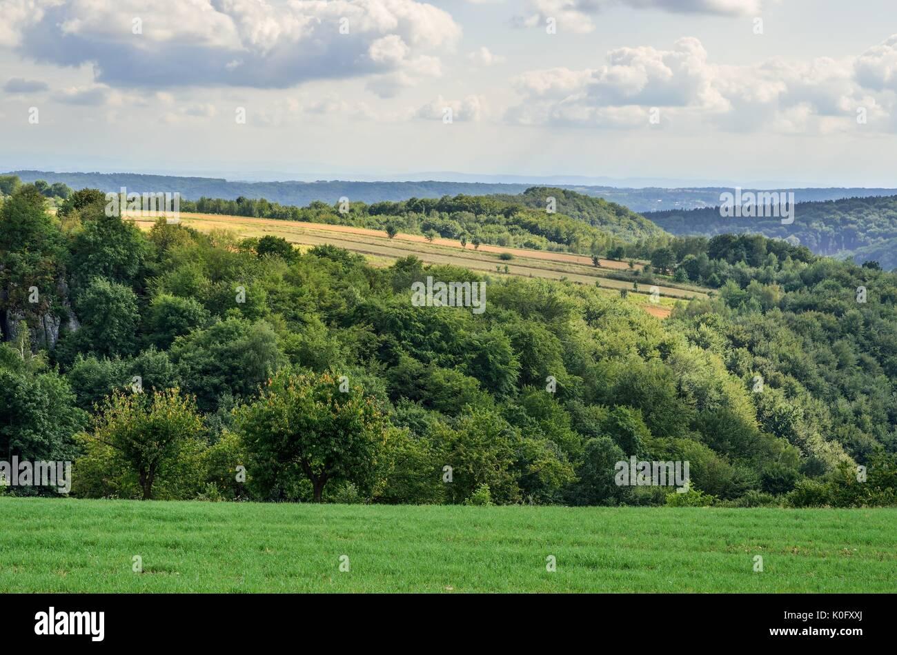 Summer hills landscape. Beautiful green Jurassic hills in Poland. - Stock Image
