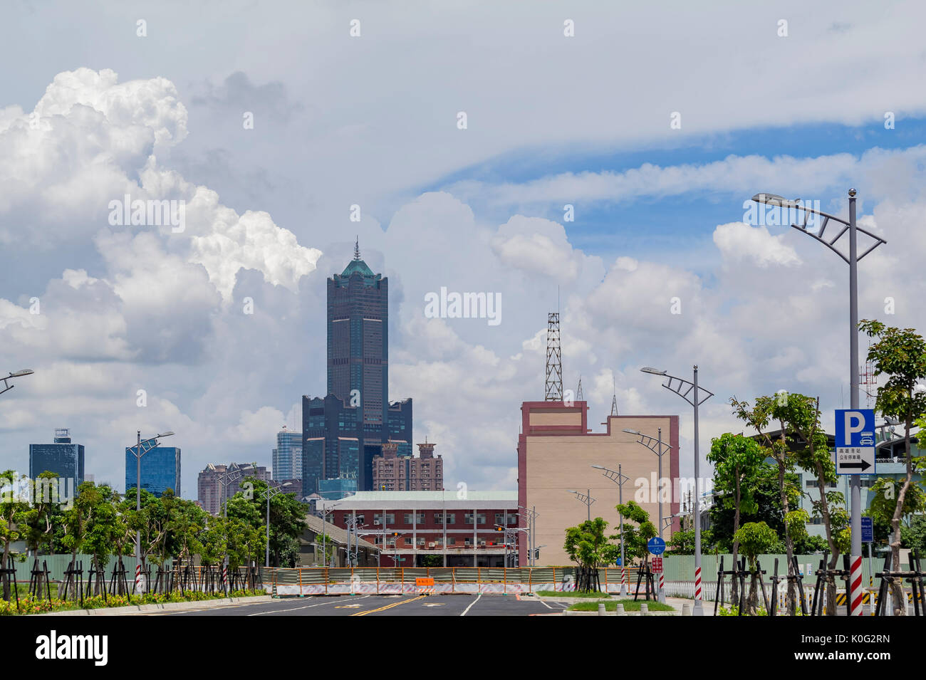 The famous 85 Sky Tower of Kaohsiung City on morning, Taiwan - Stock Image