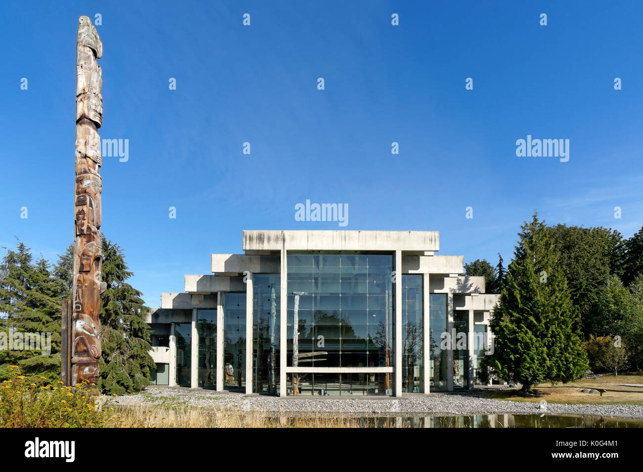 The UBC Museum of Anthropology building designed by Arthur Erickson, Vancouver, BC, Canada - Stock Image
