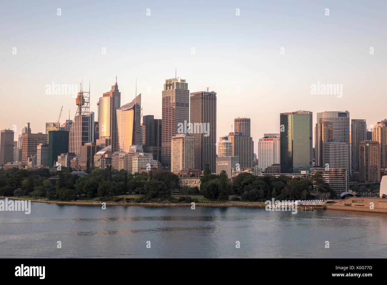 Early Morning Sunrise Sydney Downtown Central Business District (CBD) Skyline Including The Sydney Tower Eye Australia - Stock Image