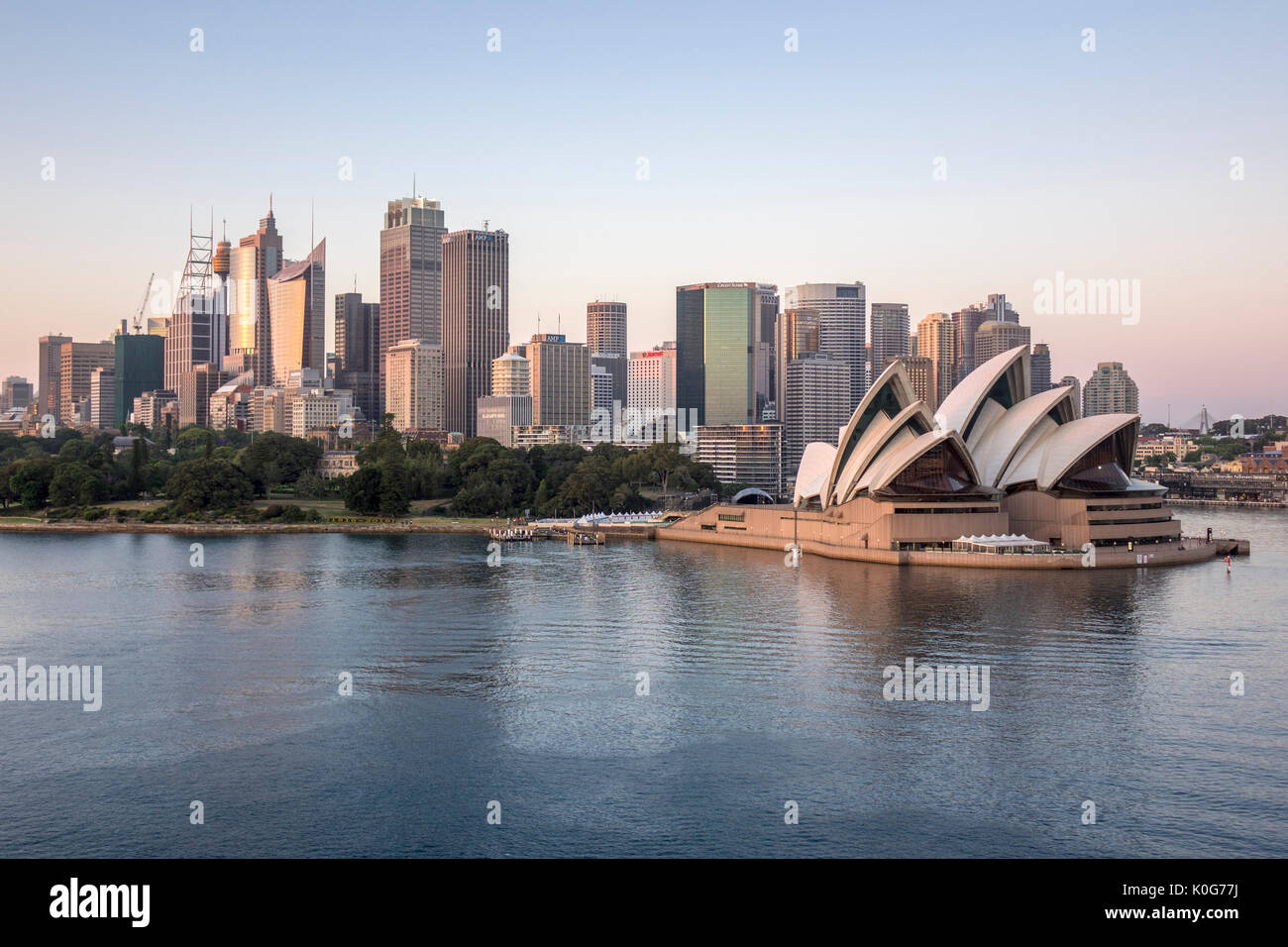 Sydney Skyline Early Morning Dawn Sunrise With Sydney Opera House And Harbour Sydney Australia - Stock Image