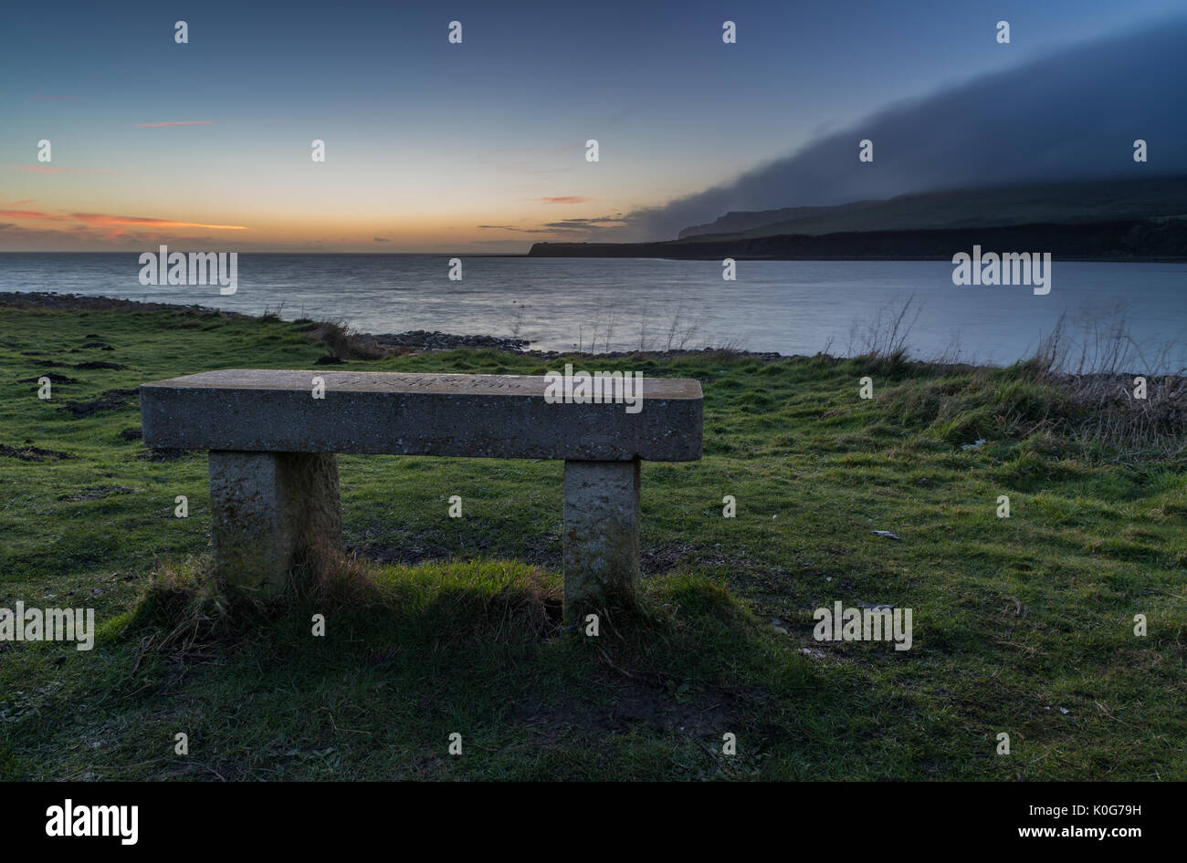 Surprising Stone Bench Seat Looking Out To Sea Stock Photo 155250301 Bralicious Painted Fabric Chair Ideas Braliciousco