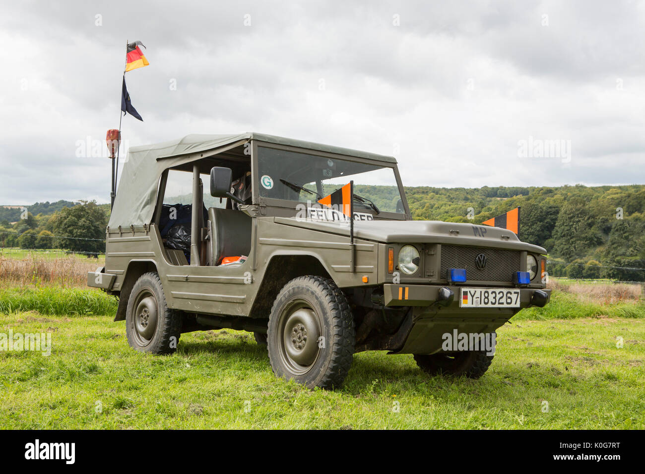 Vintage German military volkswagen of the feldjager or military police. Shot in a rural location. Stock Photo