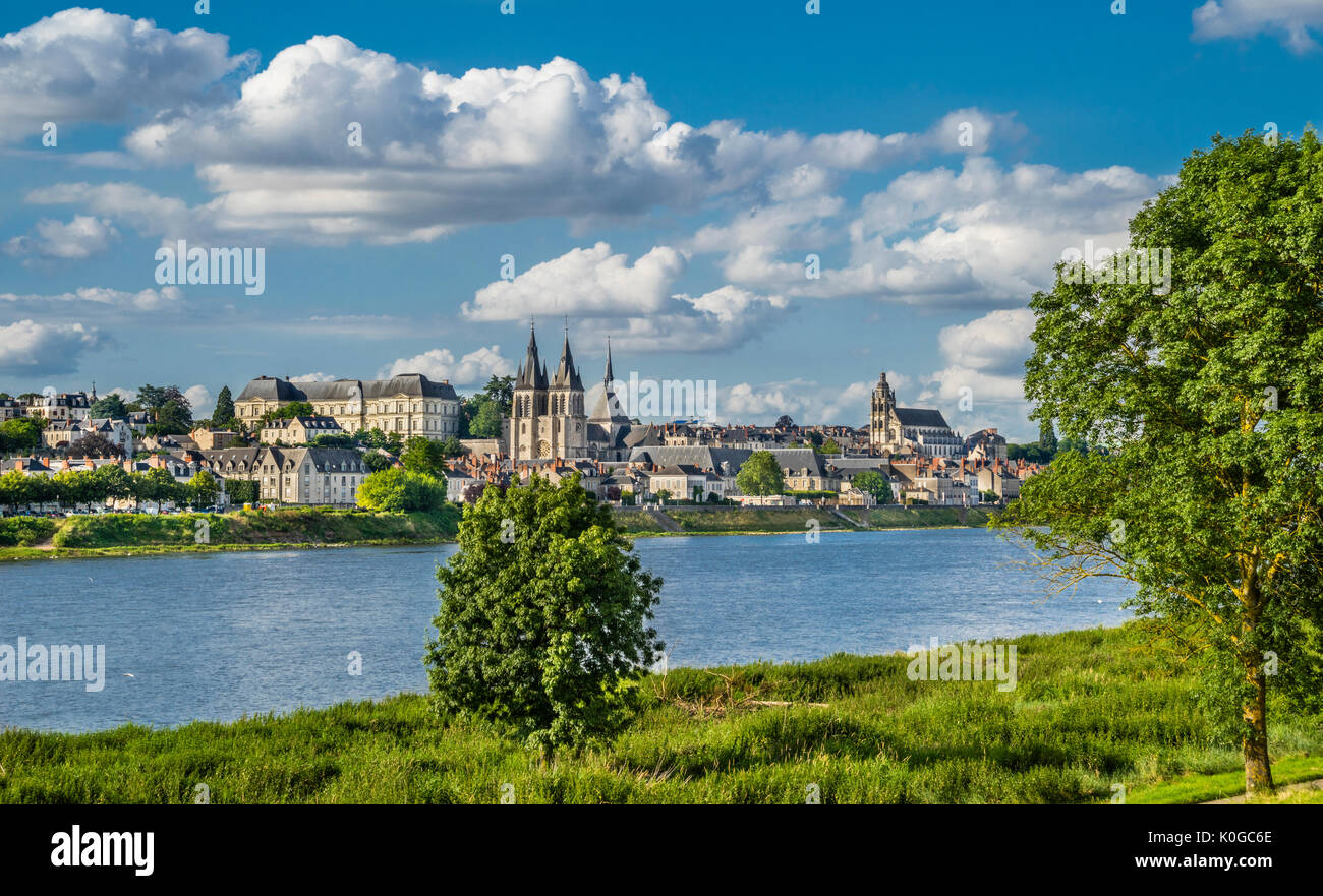 France, Loire Valley, Loir-et-Cher department, panoramic view of Blois on the Loire River - Stock Image