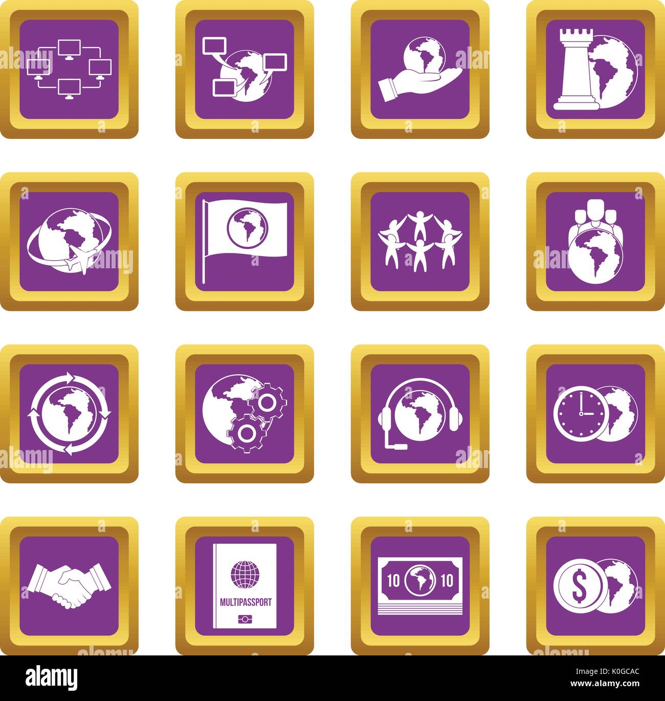 Global connections icons set purple - Stock Vector