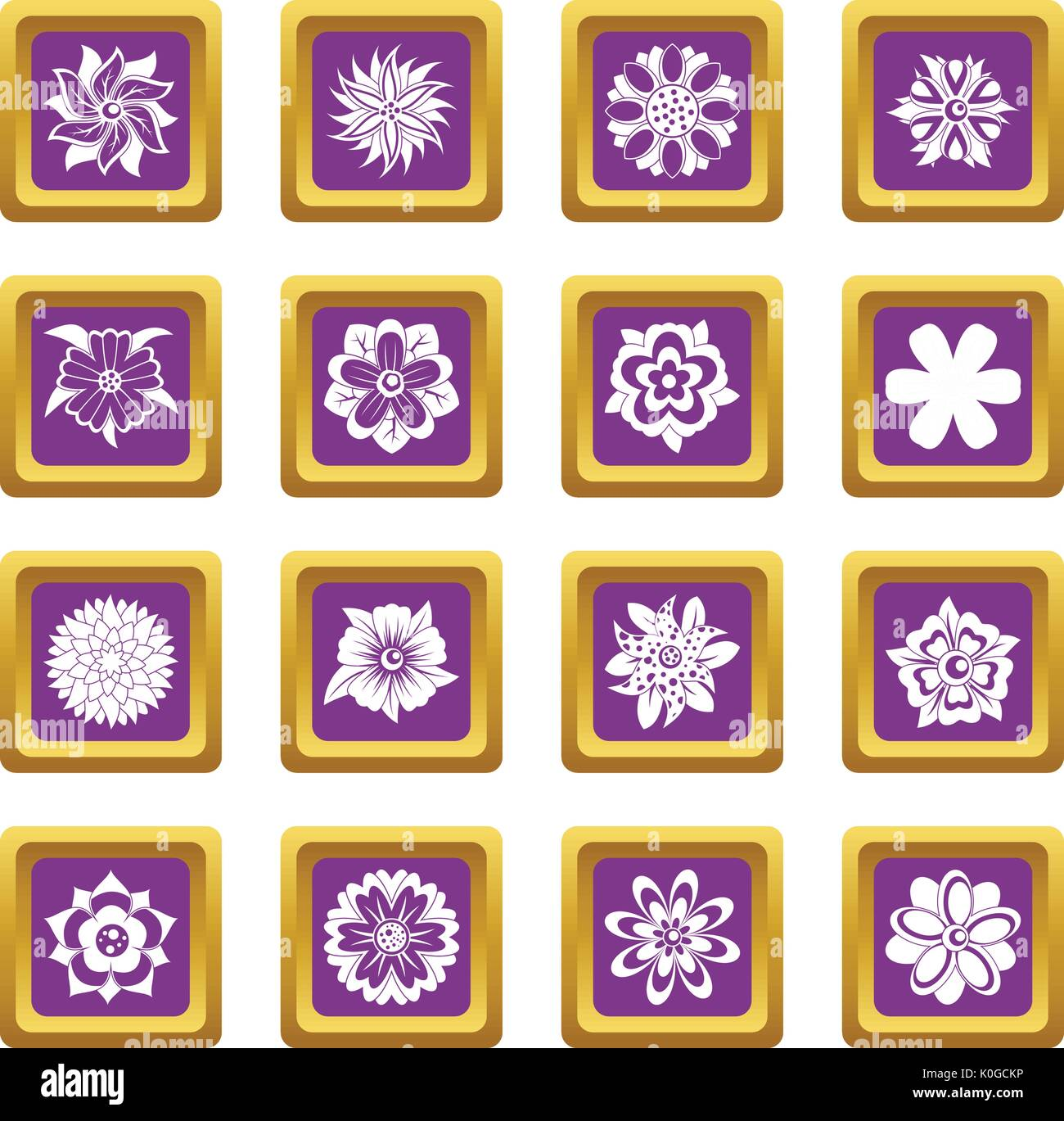Different flowers icons set purple - Stock Image