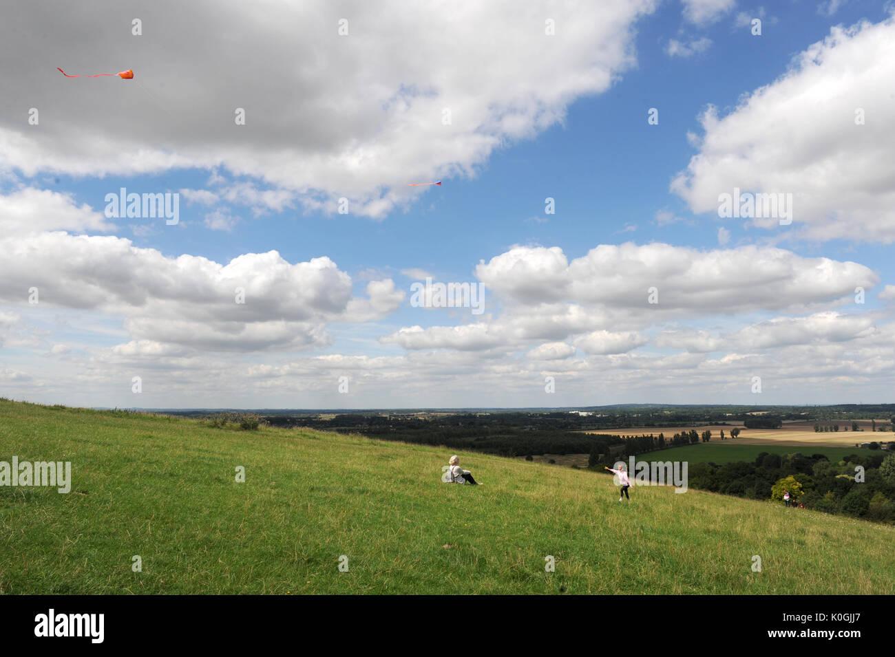 Children flying kites on Wittenham Clumps, Berkshire. U.K. - Stock Image