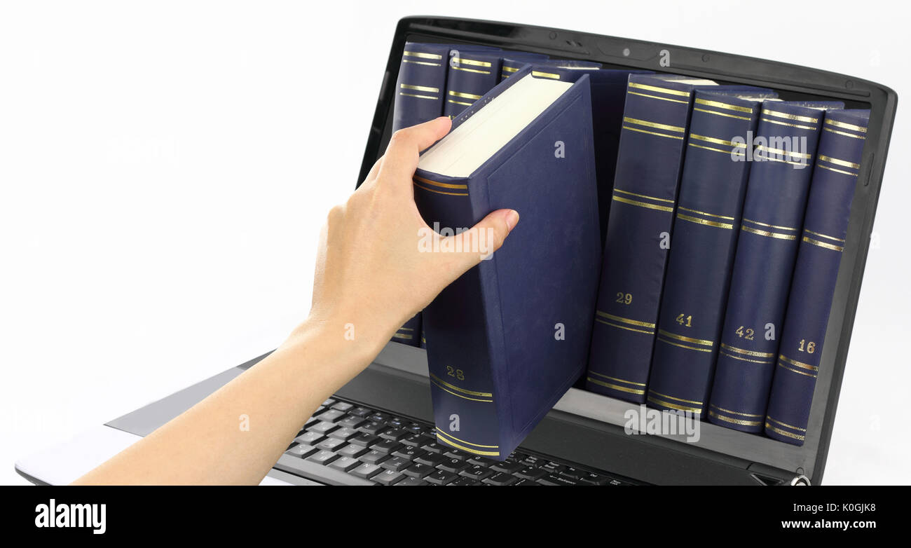 Laptop computer with books, isolated on white Stock Photo: 155259196