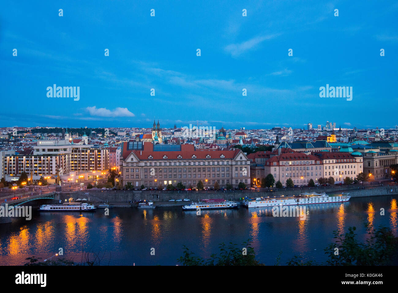 Panoramic view of the Old city of Prague from the Letná Park Stock Photo