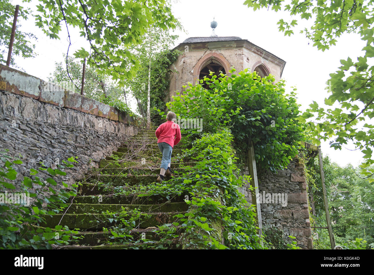 decaying tower, Saarburg, Rhineland-Palatinate, Germany - Stock Image