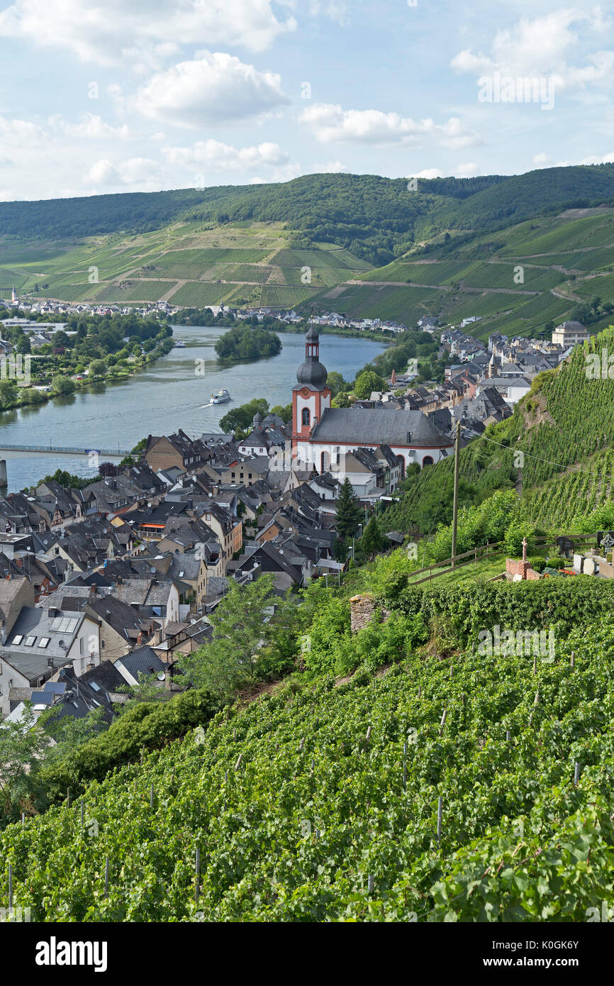 panoramic view of Zell, Moselle Valley, Rhineland-Palatinate, Germany - Stock Image
