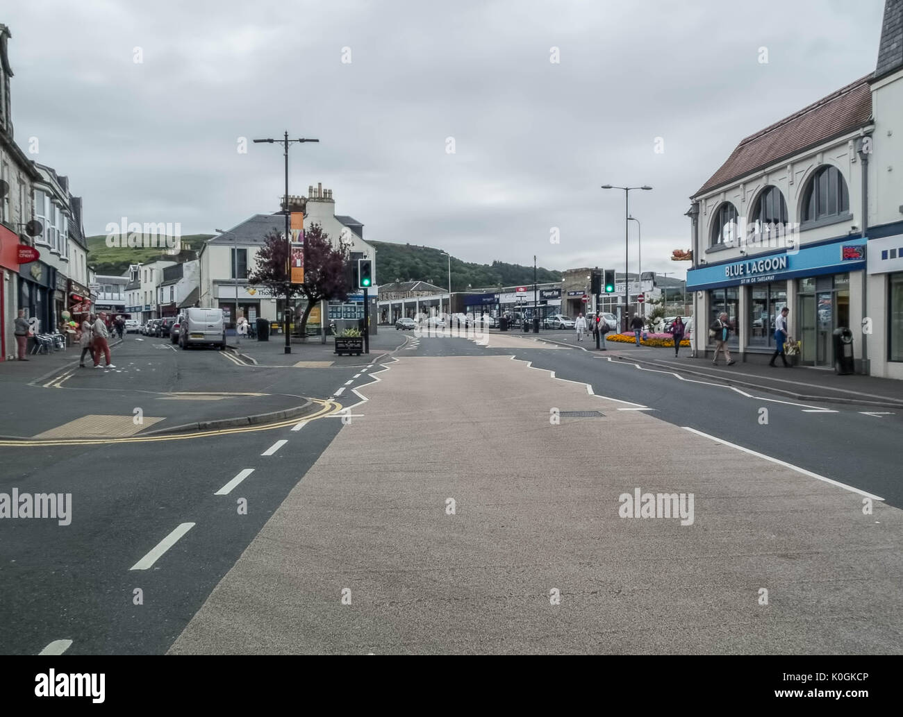 Largs,North Ayrshire Scotland-August 21,2017: Main Stret Largs during the summer when the town has been very quiet. - Stock Image