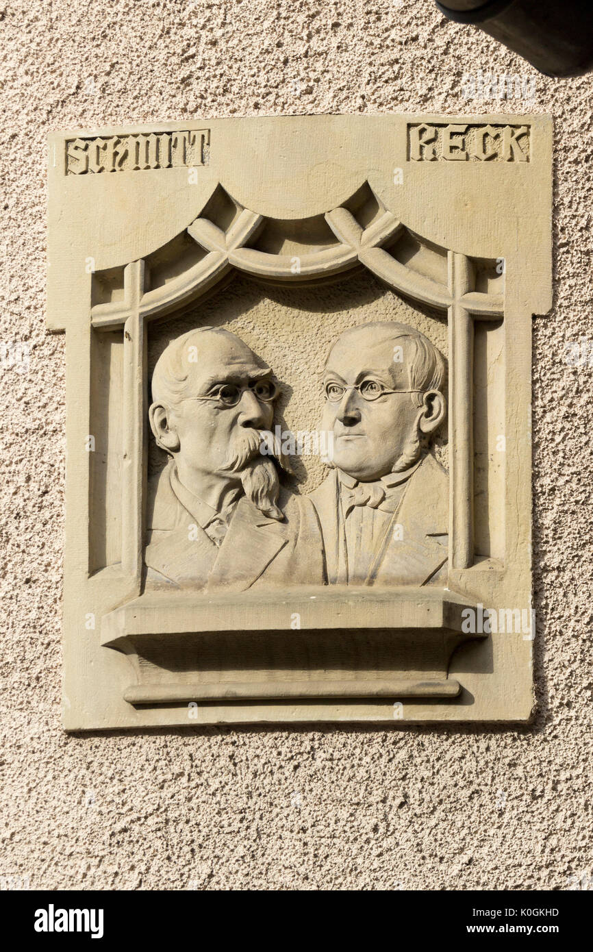 memorial plaque, Traben-Trarbach, Moselle, Rhineland-Palatinate, Germany - Stock Image