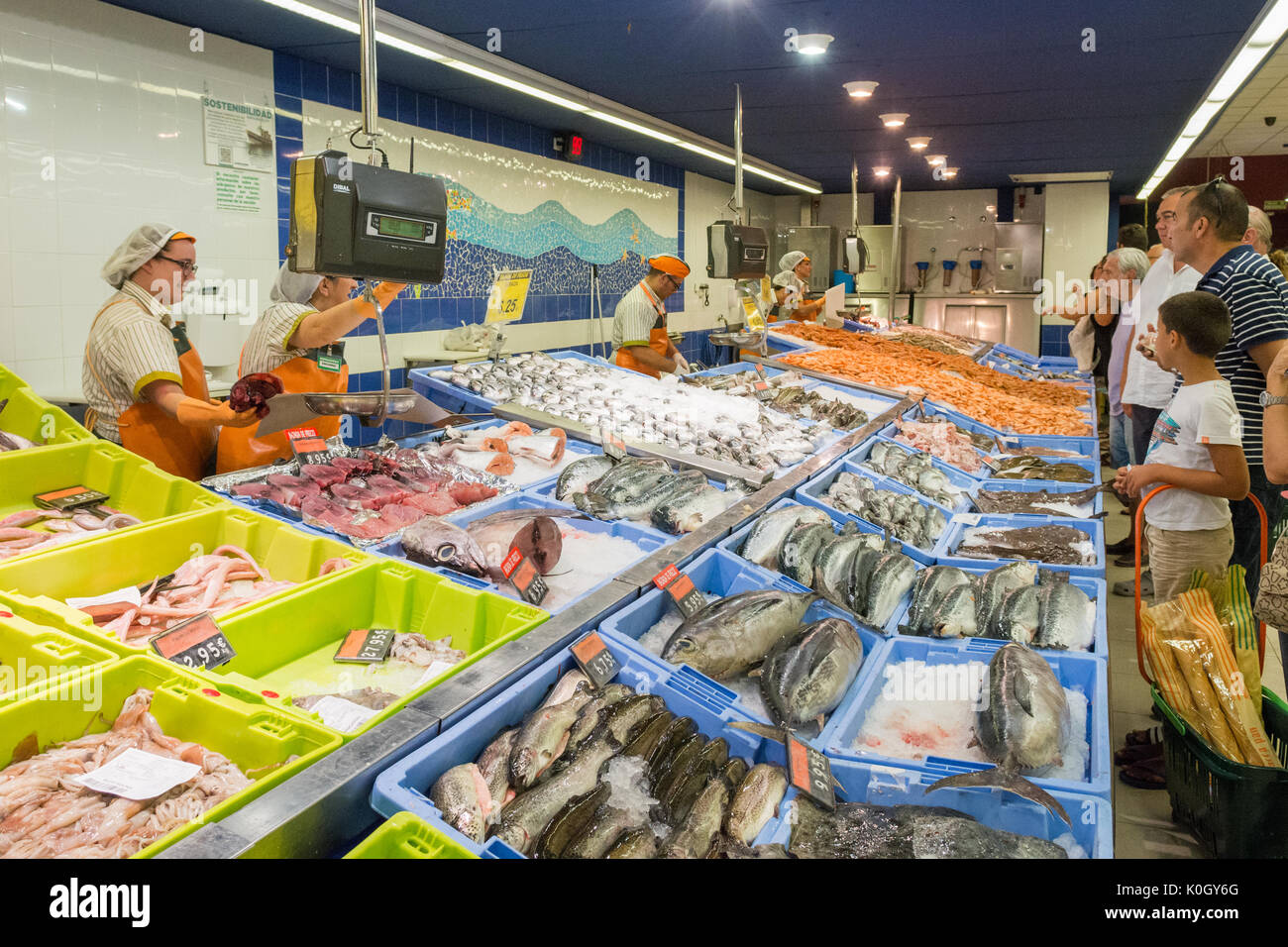 typical large fresh fish counter in Spanish supermarket - Stock Image