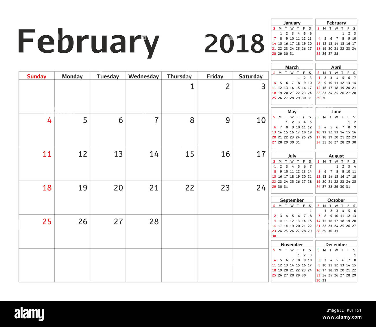 simple calendar planner for 2018 year calendar planning week design february template set of 12 months week starts sunday