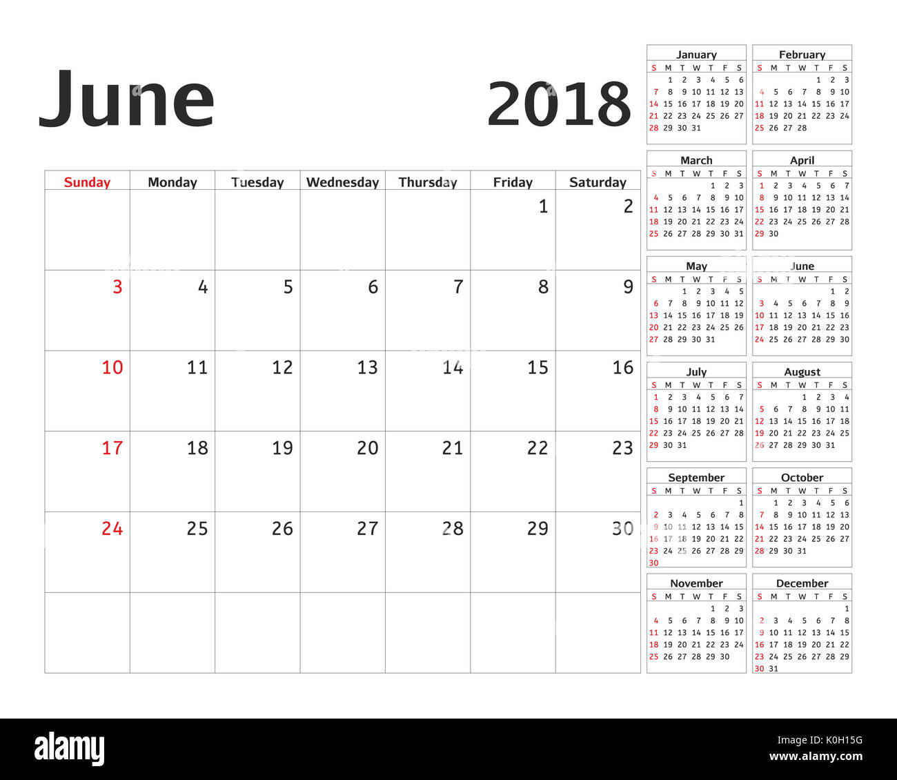simple calendar planner for 2018 year calendar planning week