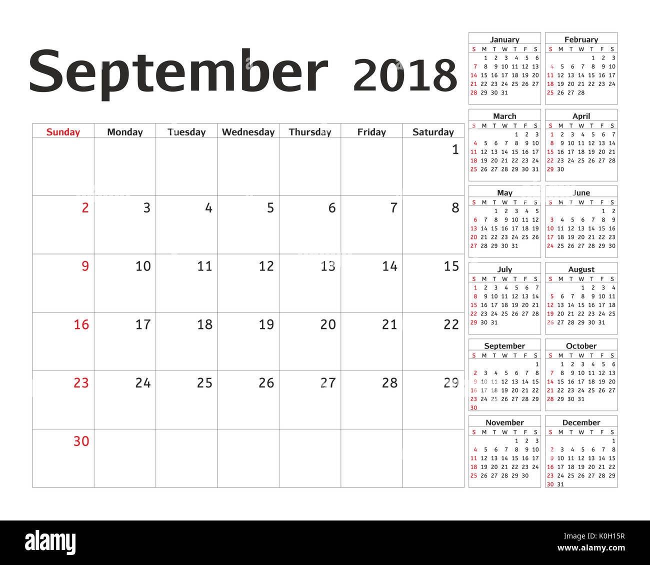 simple calendar planner for 2018 year calendar planning week design september template set of 12 months week starts sunday