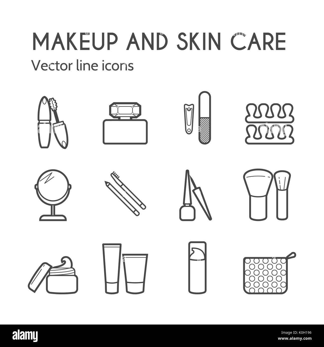 Makeup skin care simple line icons. Mascara, lipstick, powder, eye shadow, perfume, cream, foundation, eyeliner, mirror, hair comb and other make-up i - Stock Image