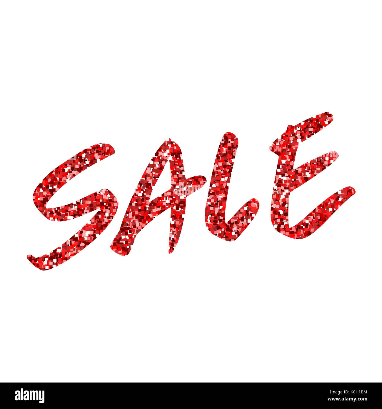 red glitter text sale template for design banner flyer tag stock