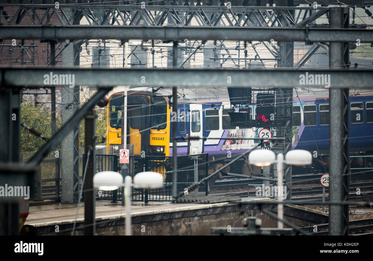 A British Rail Class 155 diesel multiple unit (DMU) at Leeds station on the day politicians gathered in the city for a summit to discuss the need for more investment in railways in the north. DMUs were built by Leyland Bus in the 1980s using some bus components. - Stock Image