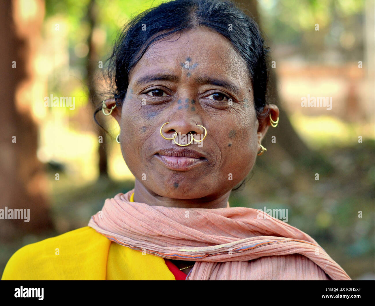 Middle-aged Indian Adivasi market woman with facial tattoos, three golden nose rings and distinctive tribal earrings. - Stock Image